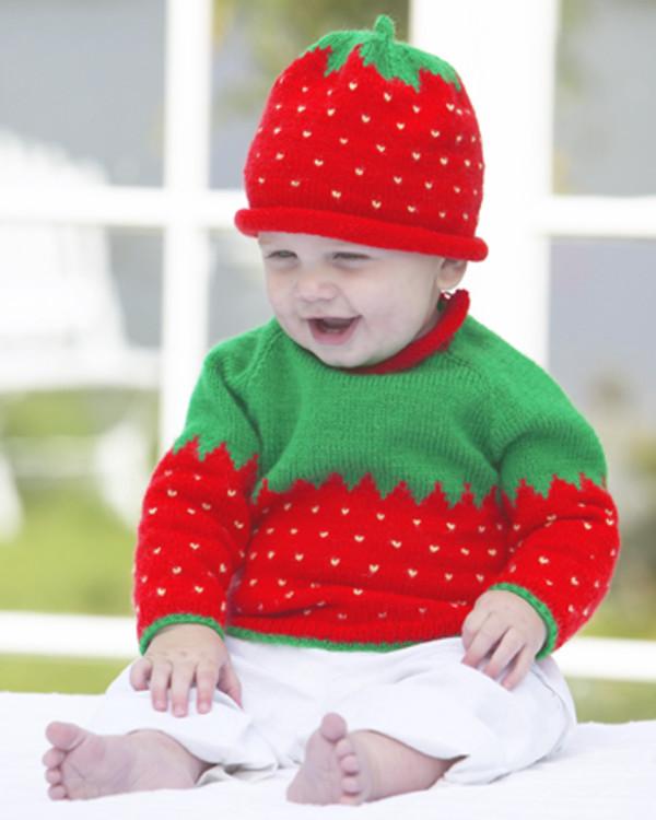 Anleitung Erdbeerpulli und Mütze