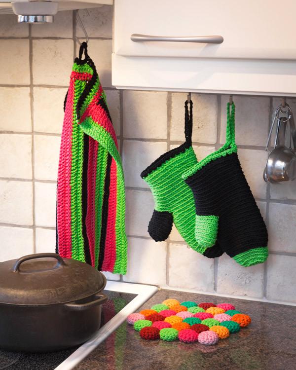 Grytevott, kjøkkenhåndklær og bordskåner