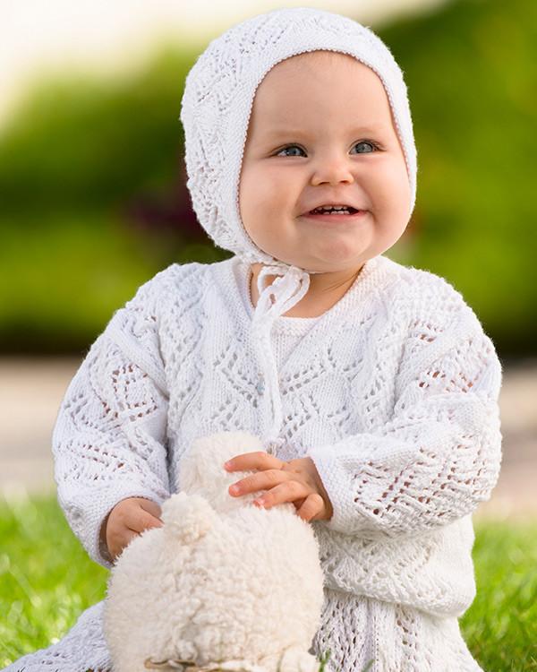 Barnklänning, kofta och mössa