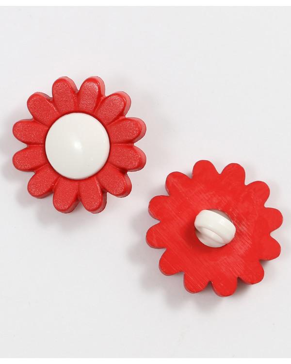 Knapp Daisy 17 mm röd/vit