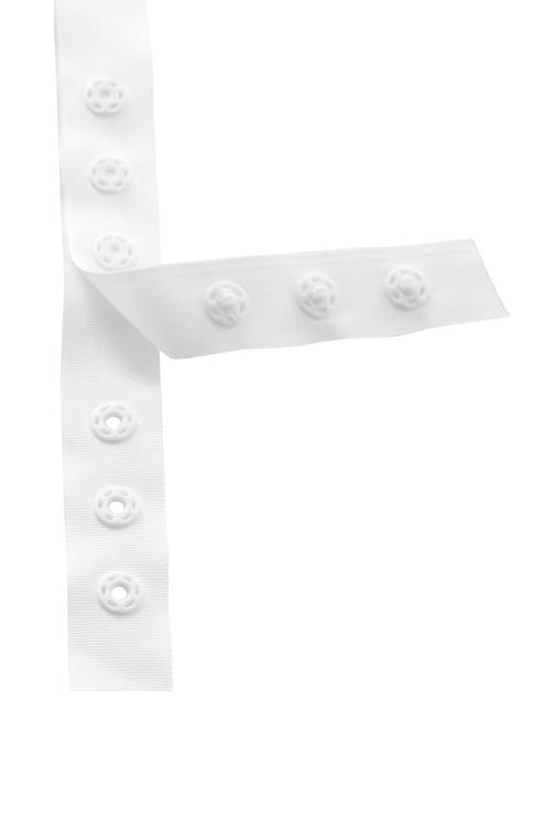 Trykknappsbånd hvit