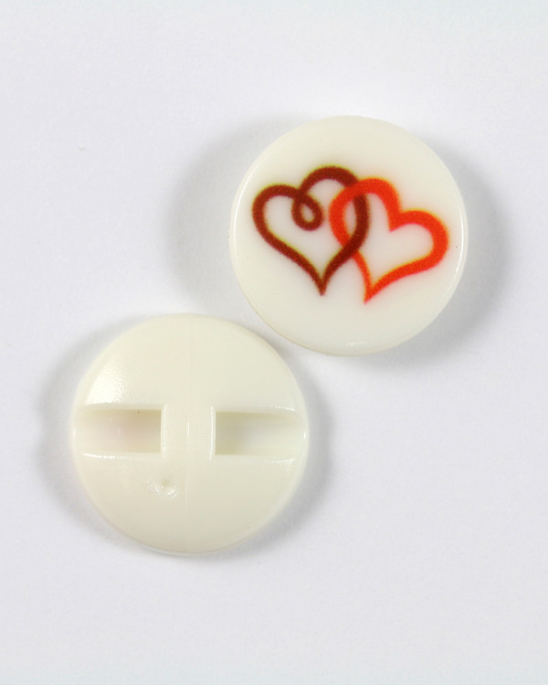 Knapp vit/hjärta 18 mm