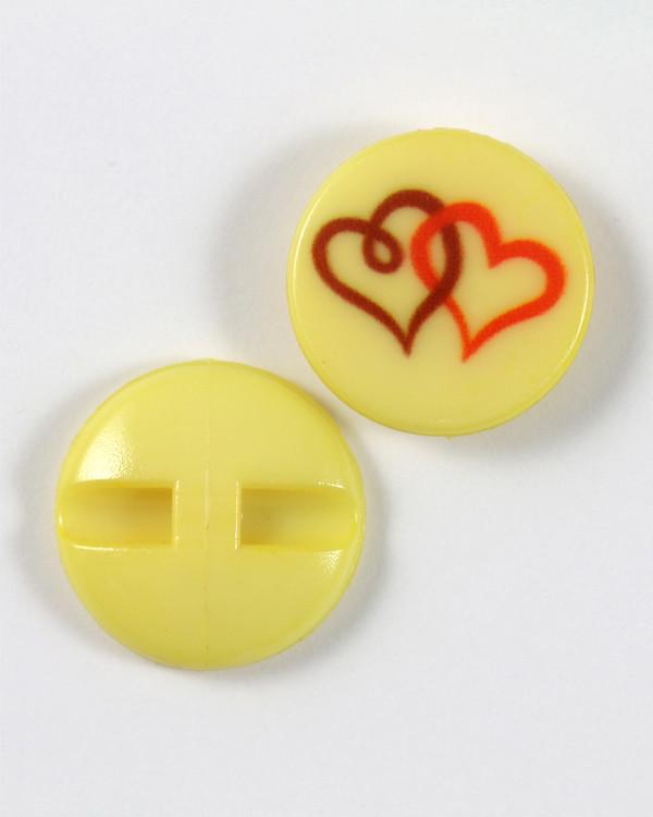 Knapp gul/hjärta 18 mm