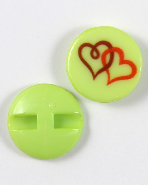 Knapp grønn/hjerte 18 mm