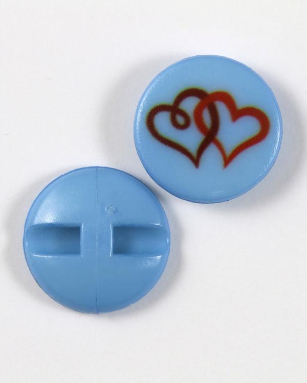 Knapp blå/hjerte 18 mm