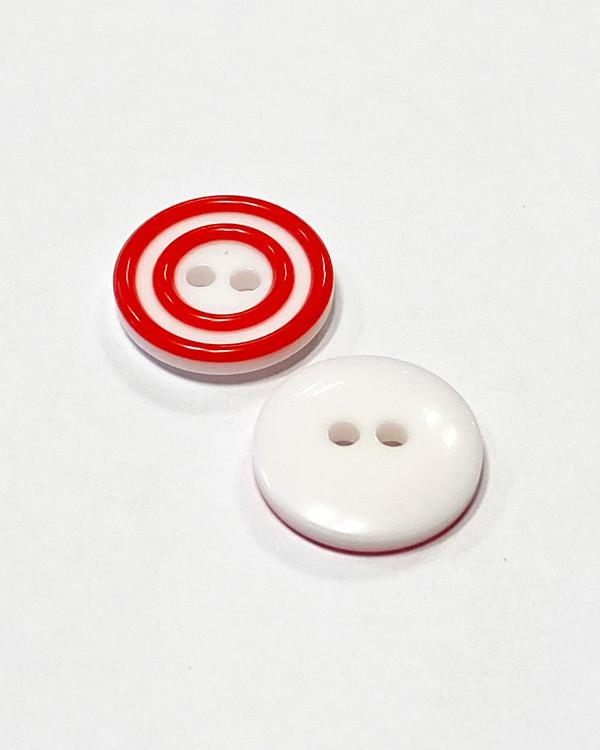 Knapp rödvit 15 mm