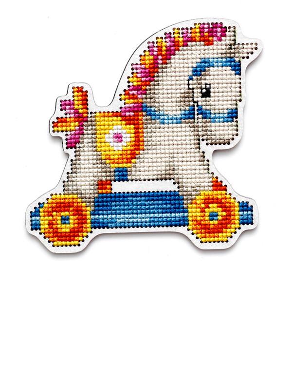 Broderikit Magnet Häst blå