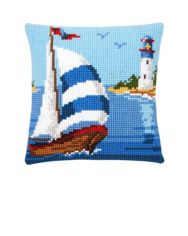 Stickpackung Kissen Segelboot
