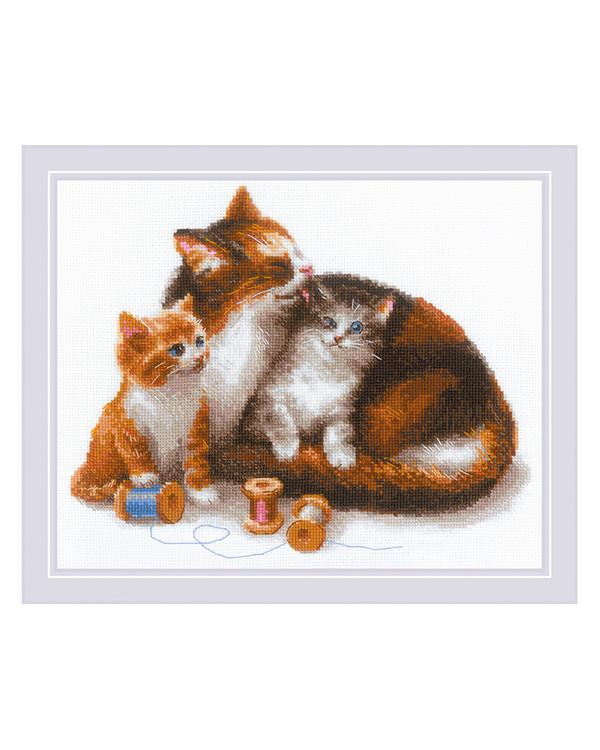 Broderipakke Bilde Katter med garn