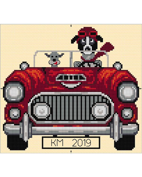 Tyyny Koira autossa