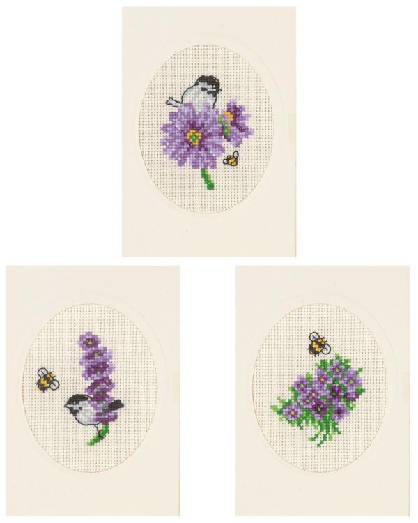 Kort Blommor 3-pack