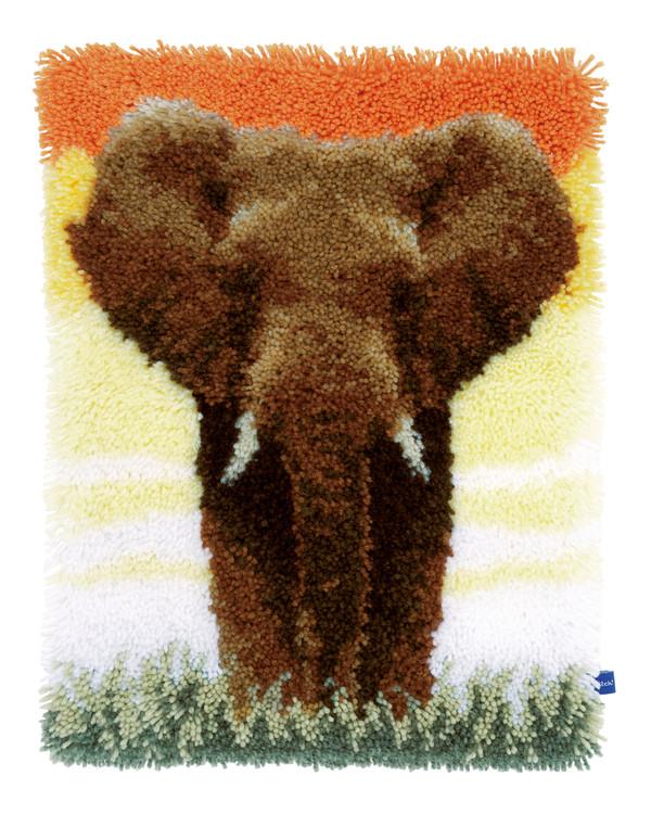 Knüpfmatte/Wandbehang Elefant