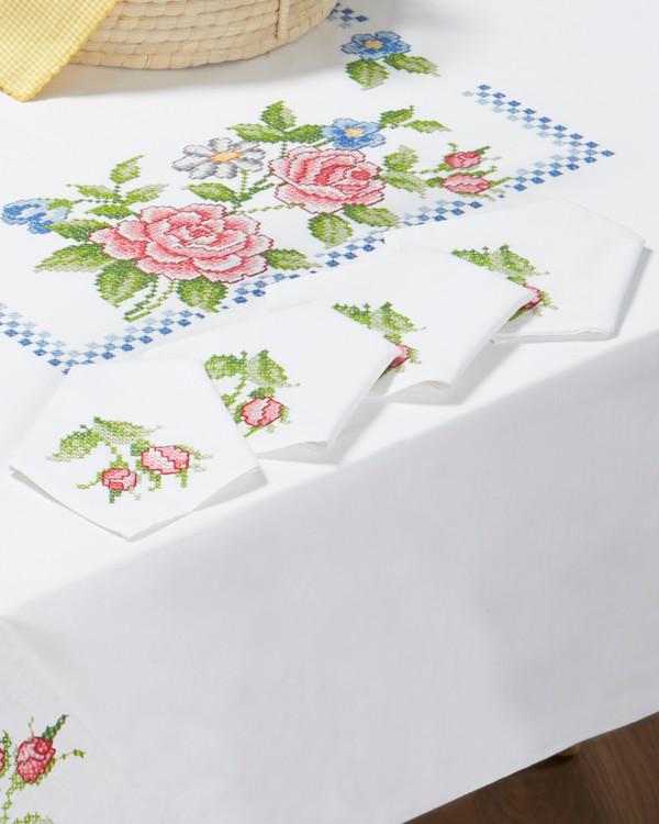 Servietter Rosa roser med eller uten garn