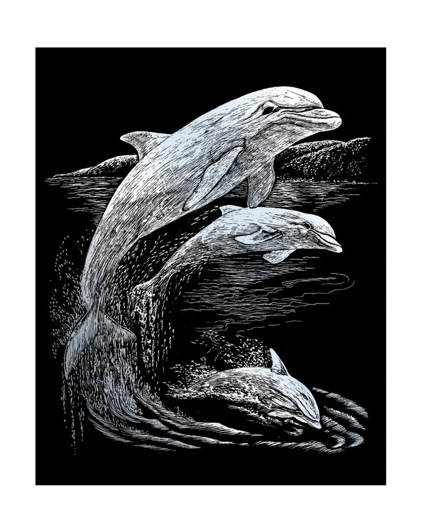 Skrapekunst Delfiner