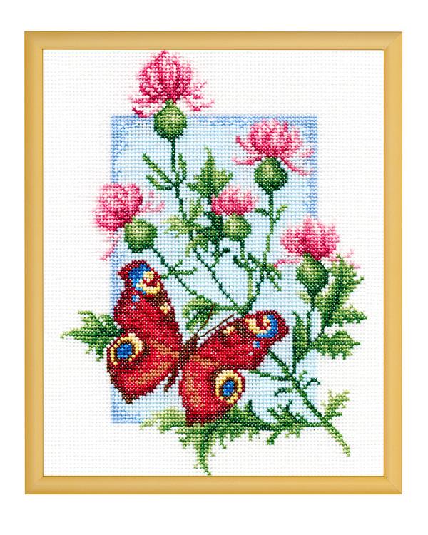 Broderipakke Bilde Sommerfugler og blomster
