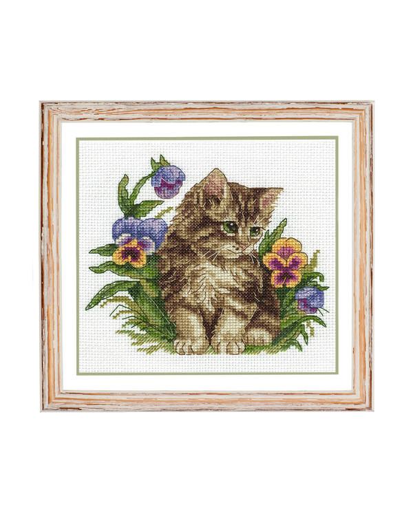 Kirjontapakkaus Taulu Kissa kukkien keskellä