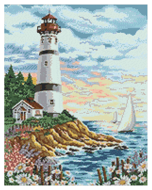 Diamond painting Leuchtturm am Meer