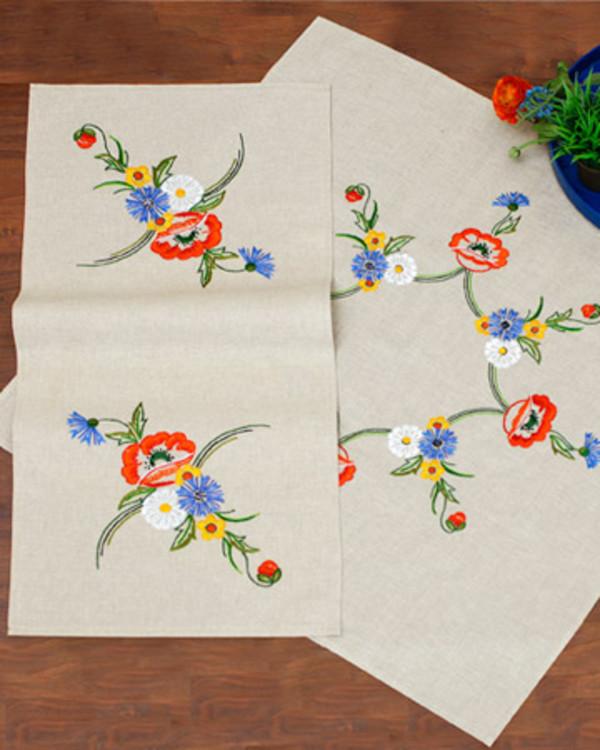 Deckchen und Läufer Sommerblumen