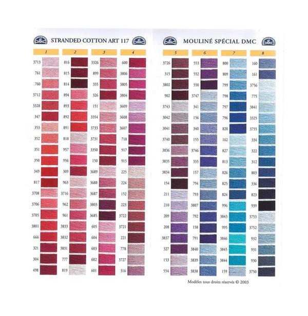 DMC Painettu värikartta