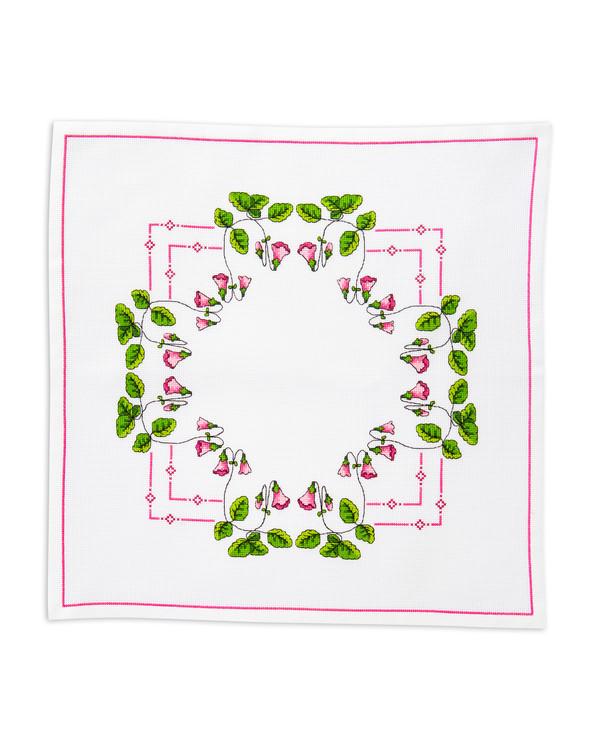 Stickpckung Deckchen Rosa Glockenblume