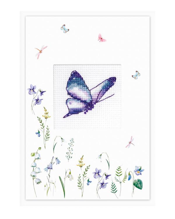 Broderipakke Kort Blå sommerfugl