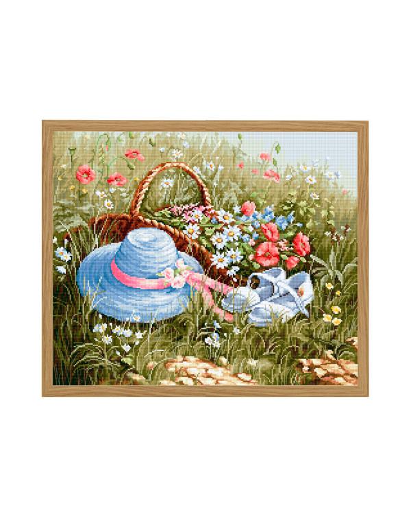 Stickpackung Bild Blumenkorb