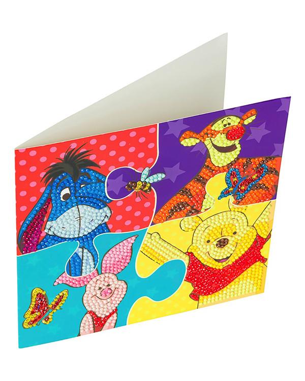 Crystal Art kortti Nalle Puh, Ihaa, Tikru ja Nasu