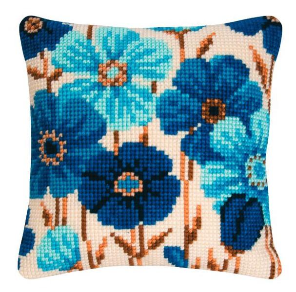 Broderikit Kudde Blå blomster