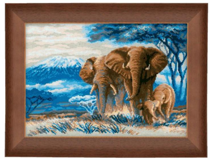 Broderikit Tavla Elefanter på savann
