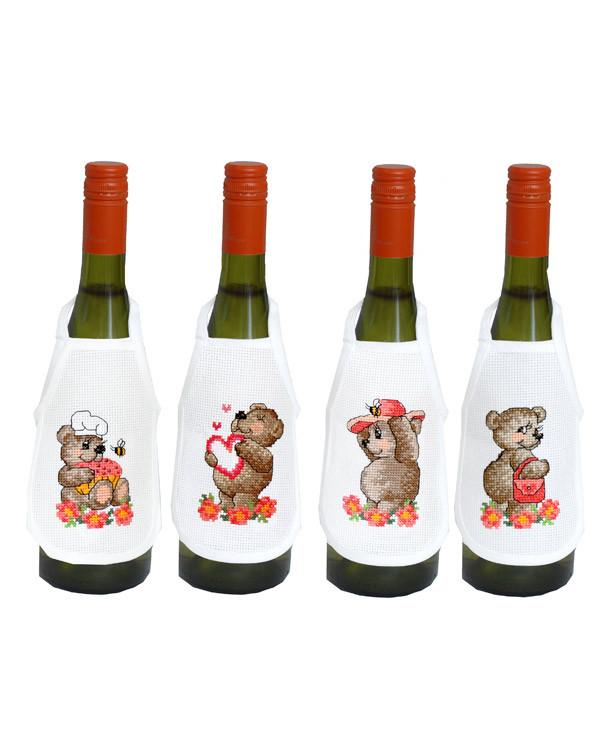 Flaskförkläden Söta björnar 4-pack