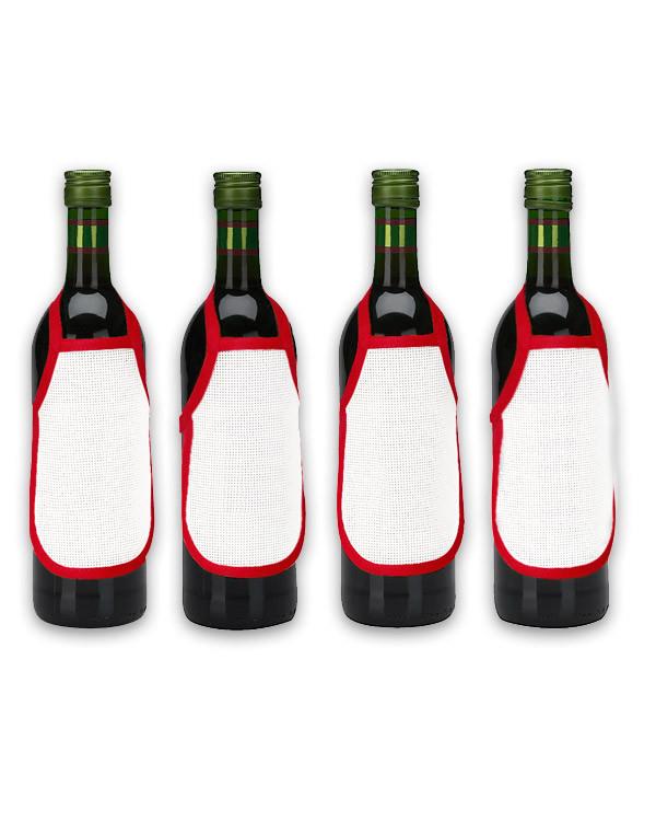 Flaskeforklær rød uten garn og mønster 4-pk