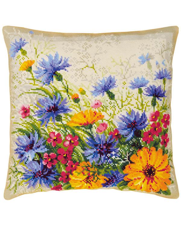 Broderikit Kuddframsida Färgglada blommor