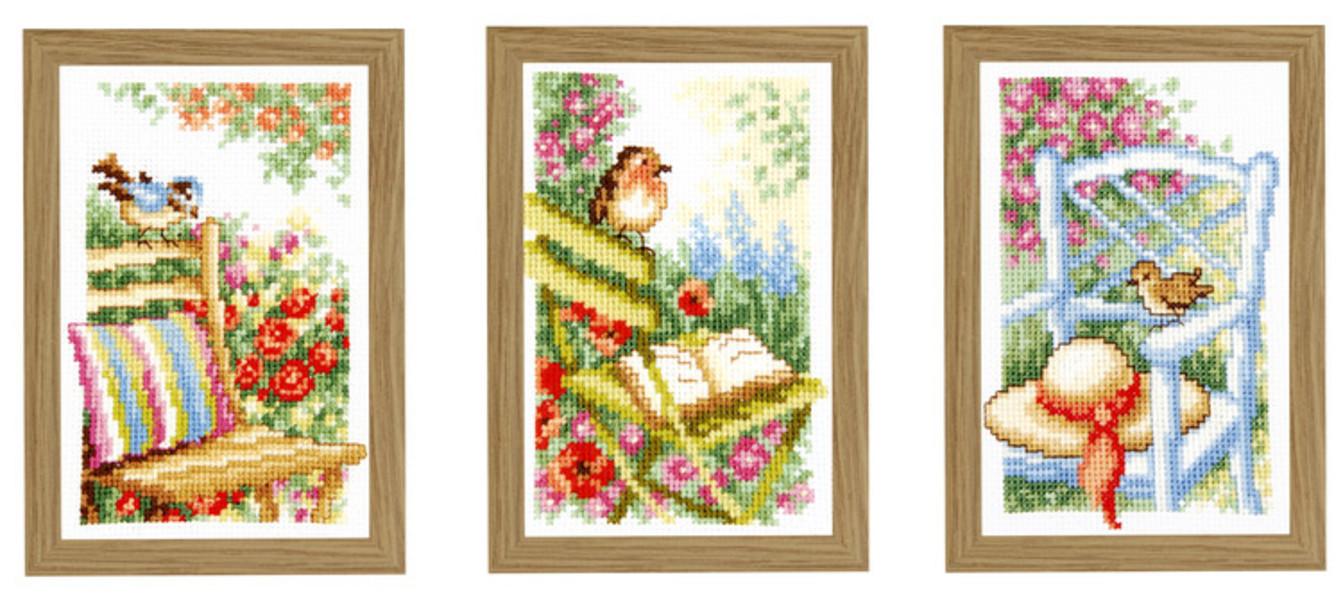 Bilder Vögel im Garten 3-er Pack