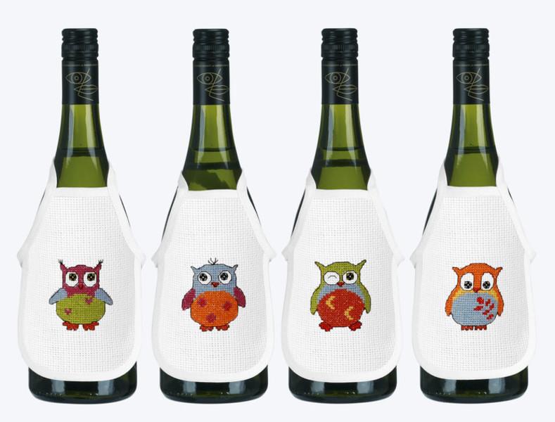 Flaskförkläden Färgglada ugglor 4-pack