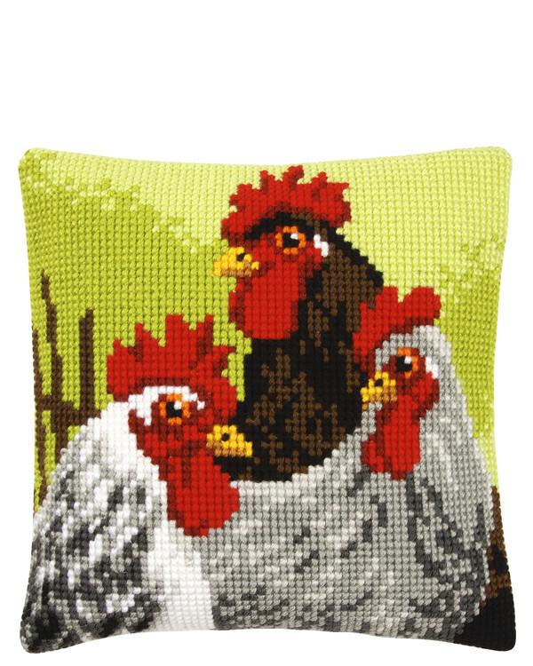 Kissen Hahn und Hühner