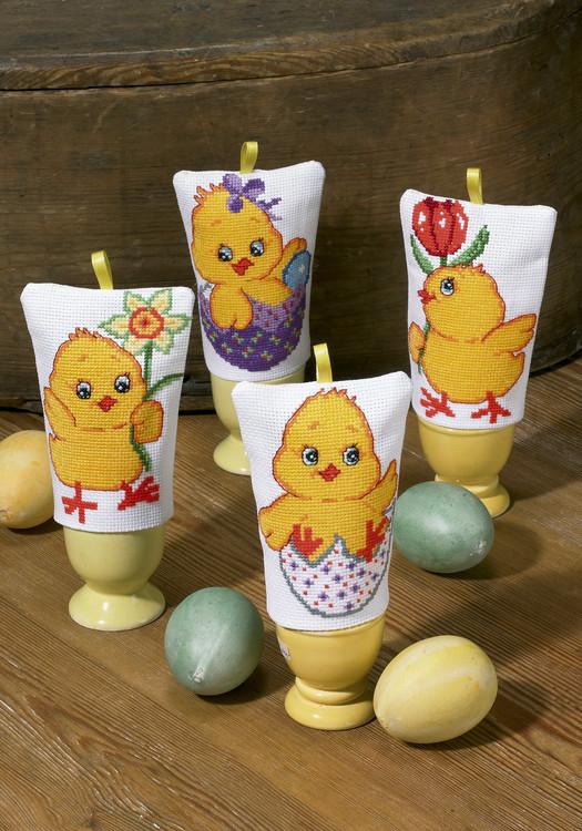 Broderikit Äggvärmare kycklingar 4-pack