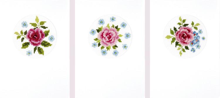 Karten Rosa Rosen 3-er Pack