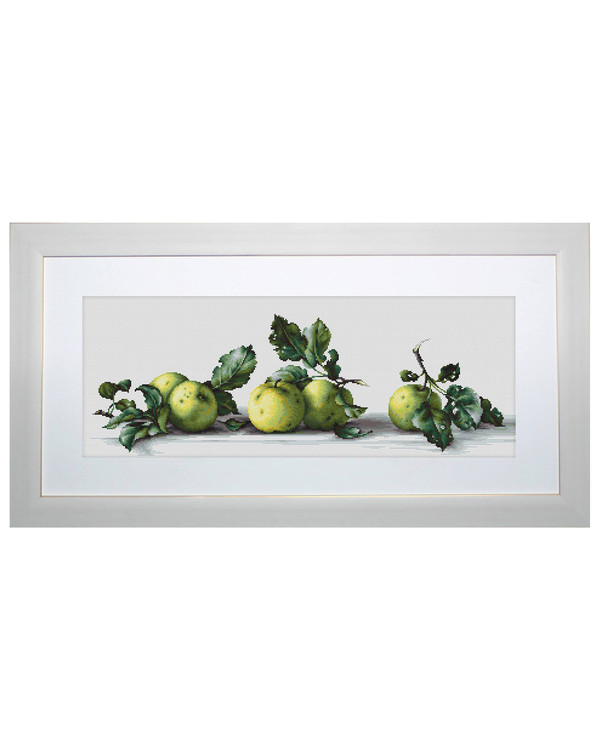 Broderikit Tavla Gröna äpplen på rad