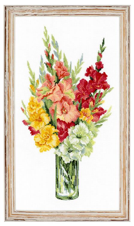 Broderikit Tavla Vas med gladiolus
