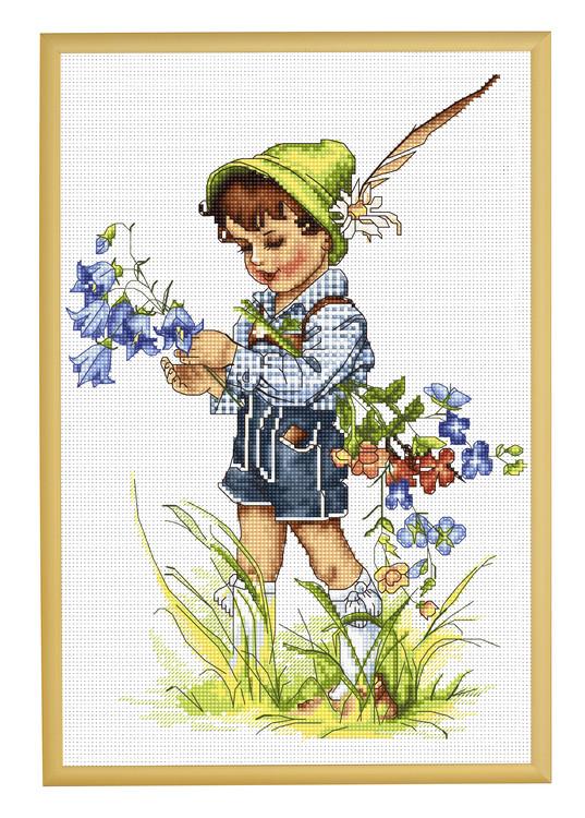 Bild Junge mit Glockenblumen