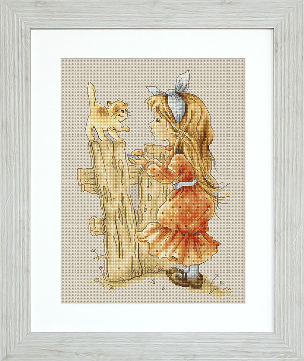Billede Pige med kattekilling
