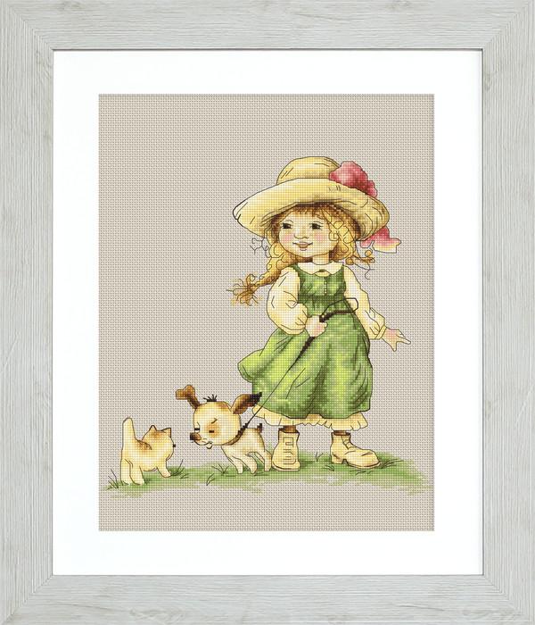 Billede Pige med hundehvalp