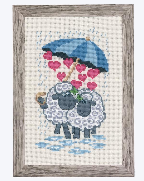 Broderikit Tavla Kärlek i regnet