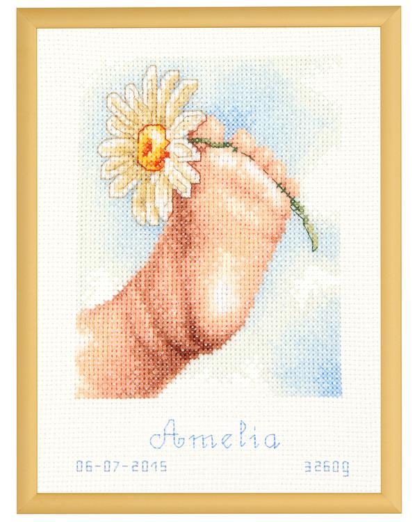 Syntymätaulu Jalka ja kukka