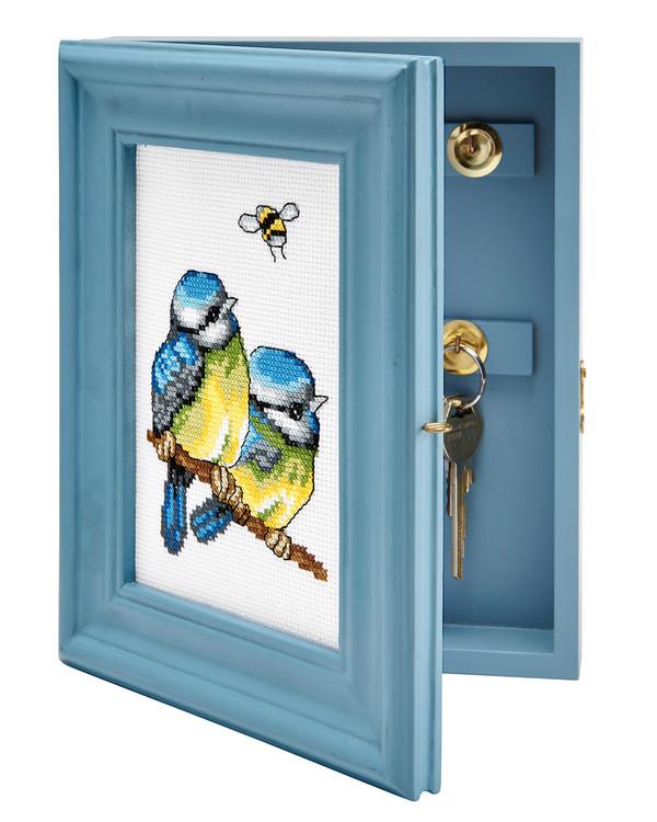 Stickerei Blaumeisen für Schlüsselschrank
