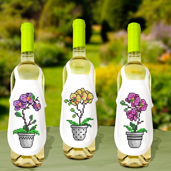 Flaskeforklær Orkidéer 3-pk