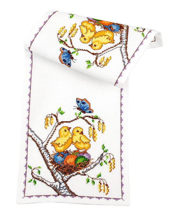 Broderikit Löpare Kycklingar i träd
