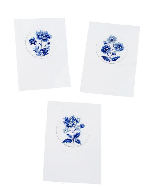 Kort Blå blomster 3-pk