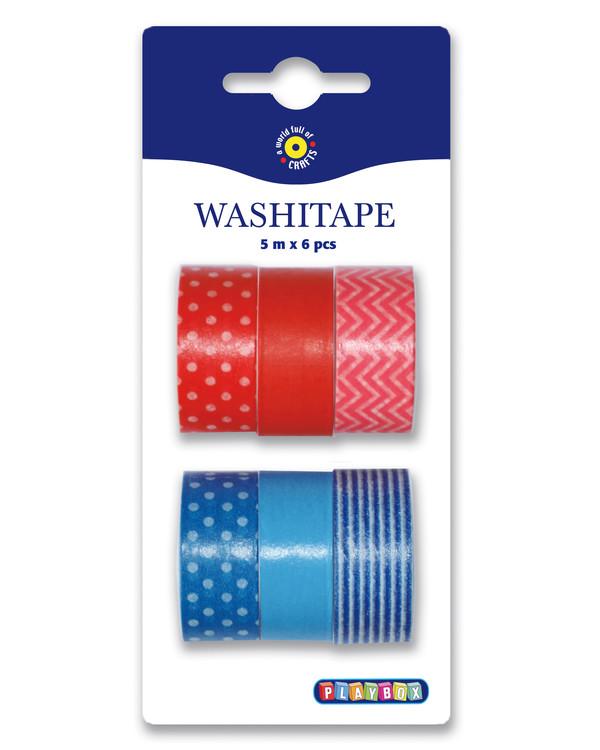 Washi tape Rød/Blå 6-pk