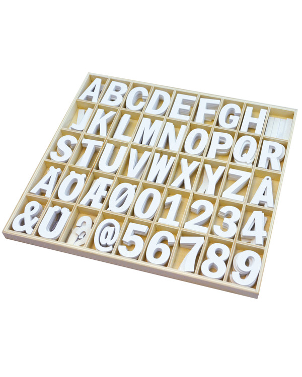 Träbokstäver och siffror